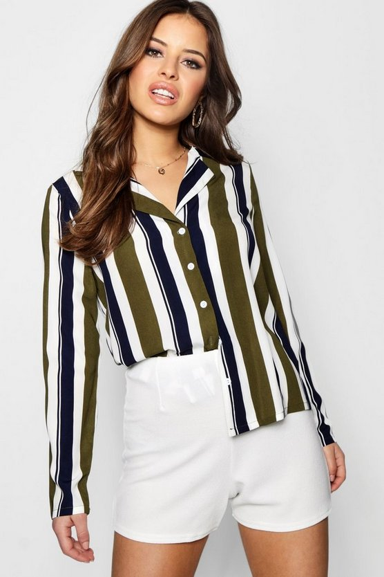 Petite Stripe Pyjama Style Co-Ord Shirt