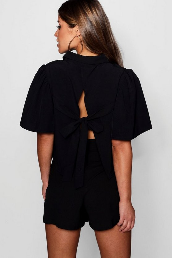 Petite Tie Back Extreme Sleeve Crop Shirt