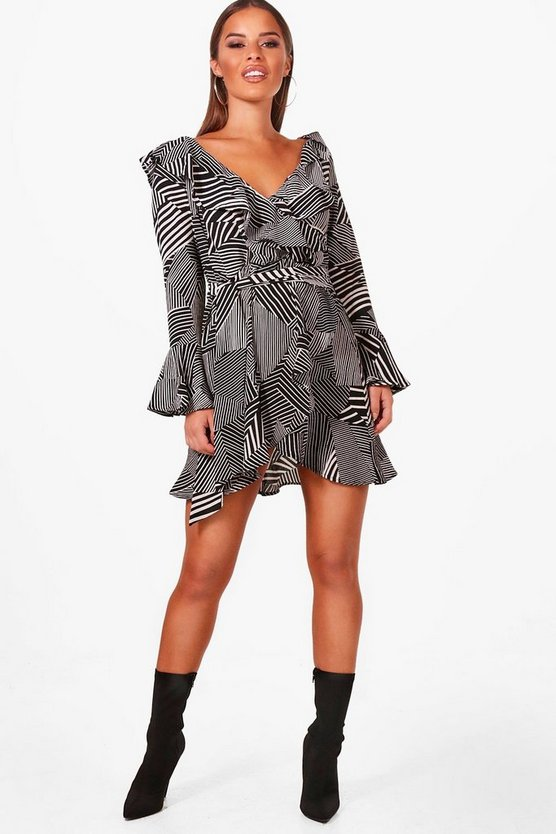 Petite Printed Bardot Woven Wrap Dress