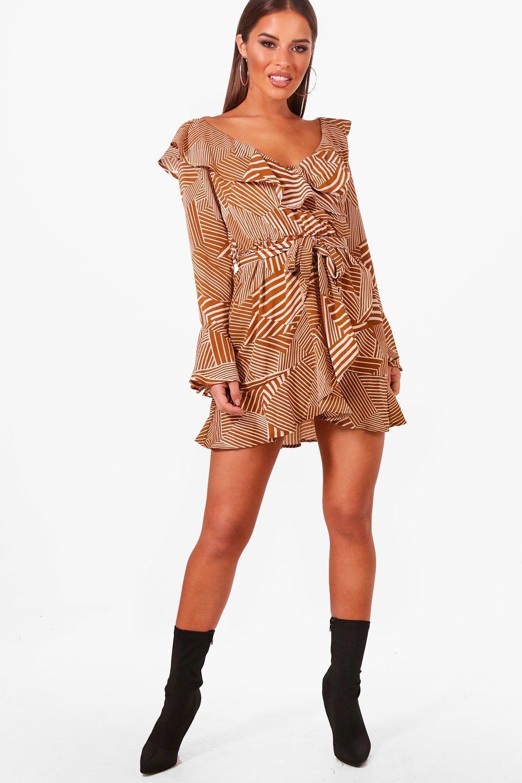 702e1abce210e Petite Printed Bardot Woven Wrap Dress | Boohoo