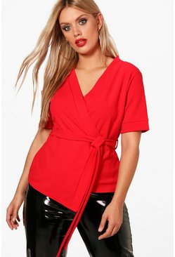 Womens Red Plus Short Sleeved Wrap Tie Waist Top