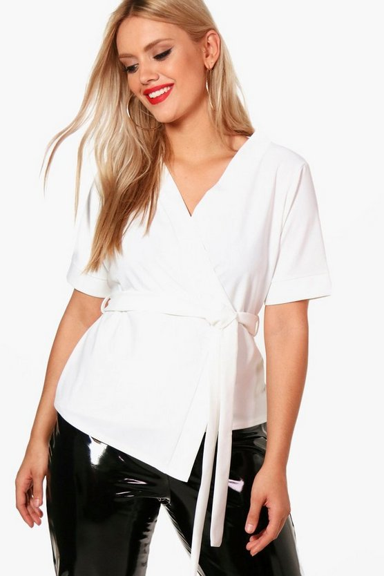 Plus Short Sleeved Wrap Tie Waist Top