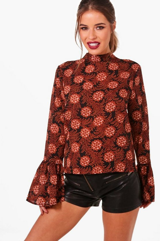 Petite High Neck Tapestry Flare Cuff Blouse