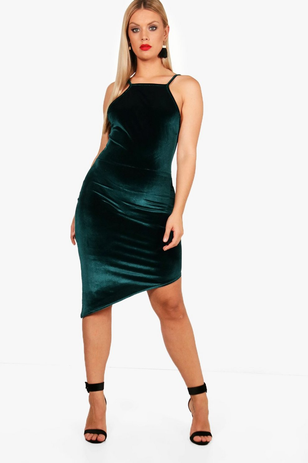 65279c9e99f9 Plus Asymmetric Velvet Bodycon Dress