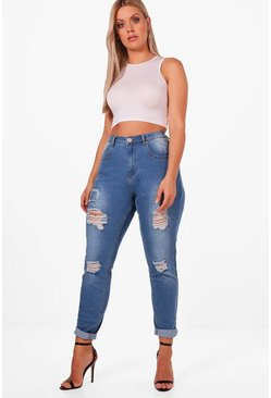 Womens Blue Plus Rip + Repair Skinny Jean