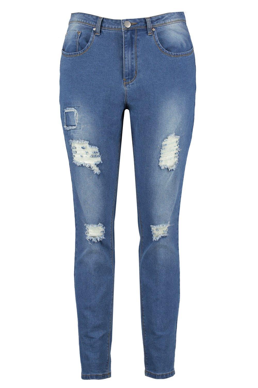 skinny rasgado y plus cosido Jeans Azul con detalle dpxtwWvq