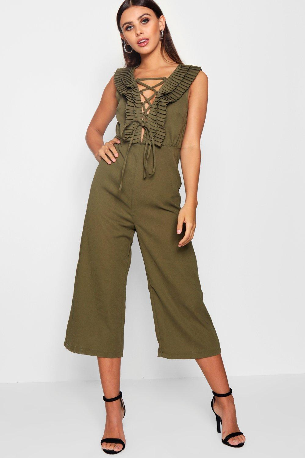 NEW-Boohoo-Womens-Petite-Megan-Ruffle-Lace-Up-Culotte-Jumpsuit-in-Polyester