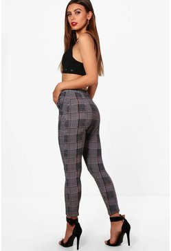 Womens Grey Petite Check Cigarette Pants