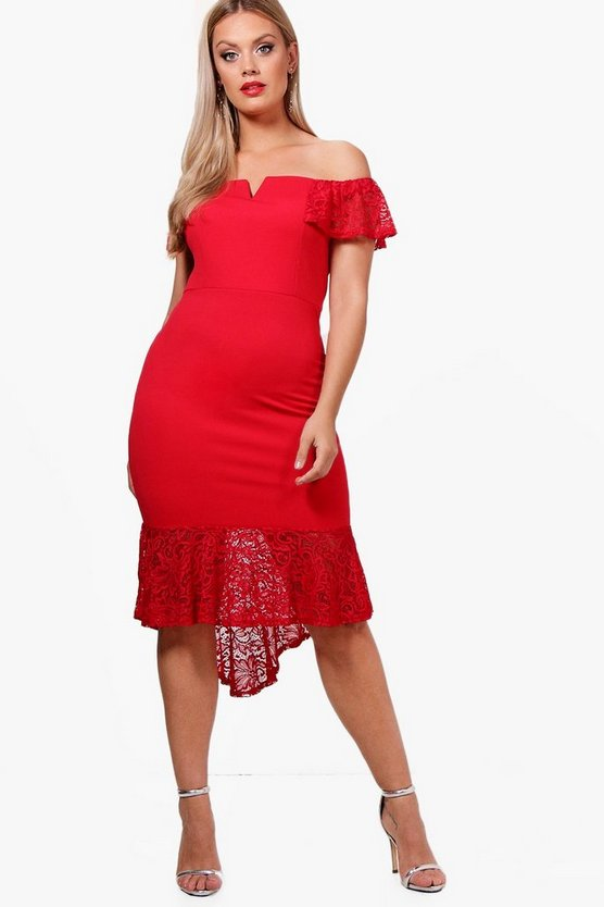 Plus Lace Fishtail Bardot Midi Dress