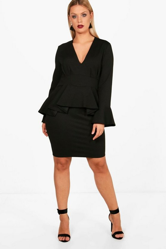 Plus Peplum Waist Flare Sleeve Dress