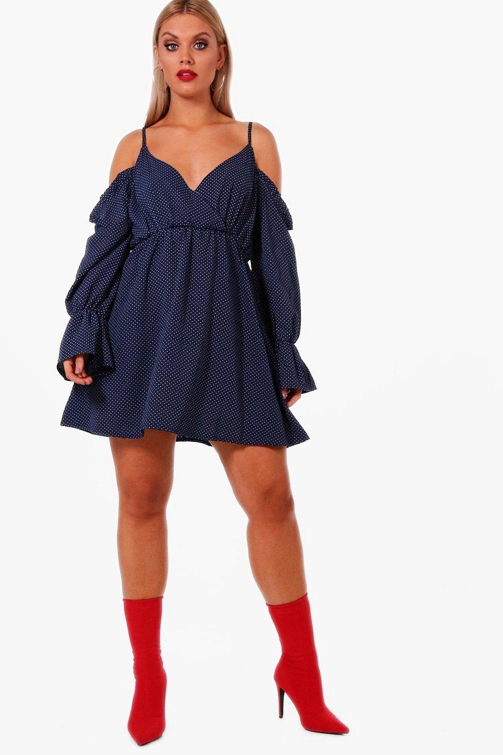 4232bfa90903 Plus Cold Shoulder Polka Dot Dress | Boohoo