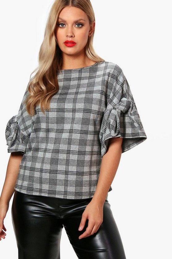 Plus Check Tie Sleeve Tee