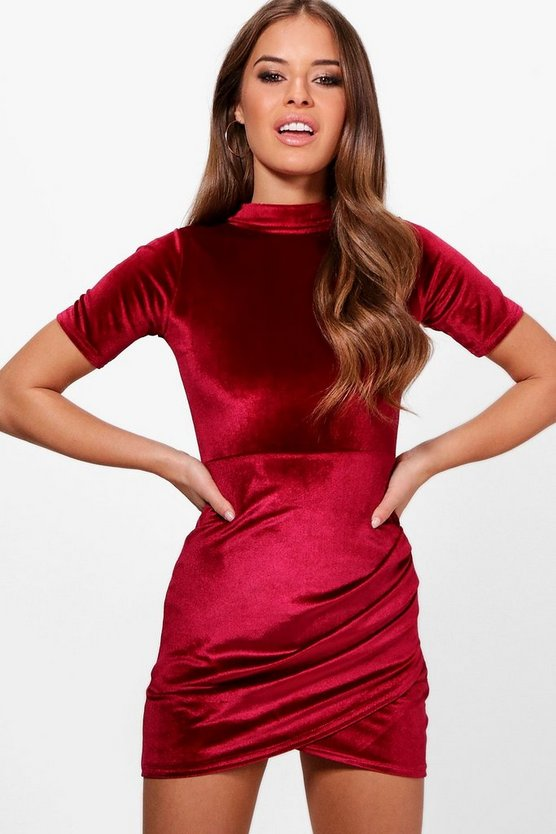 Petite Sarah Turtle Neck Wrap Velvet Dress