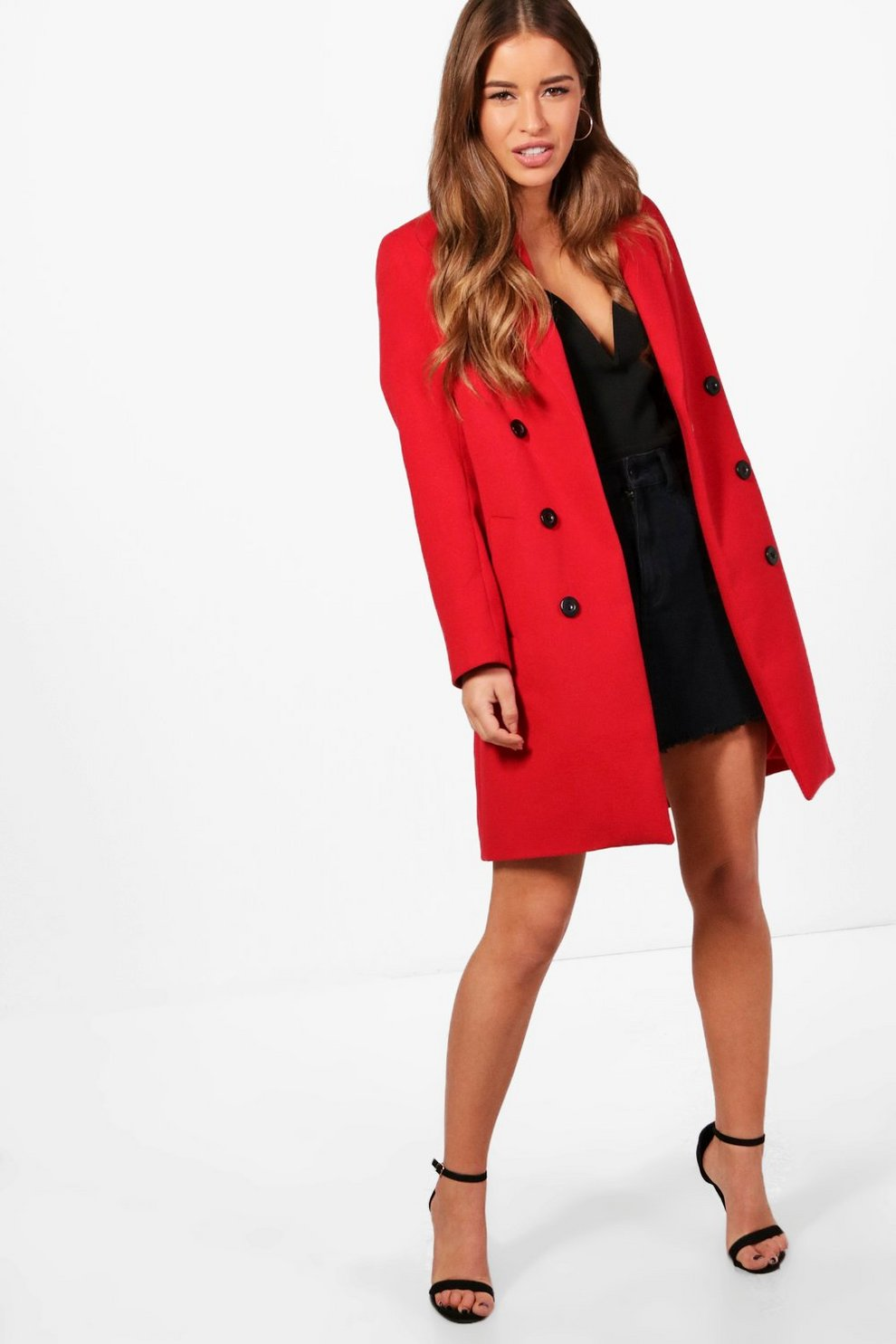 f7b335b76e2 Womens Red Petite Double Breasted Duster Coat