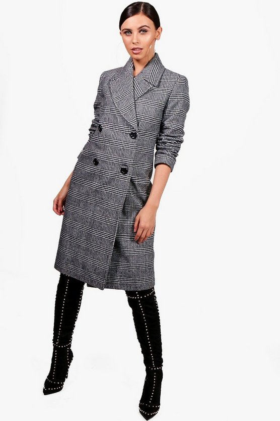 Petite Collared Double Breasted Check Coat