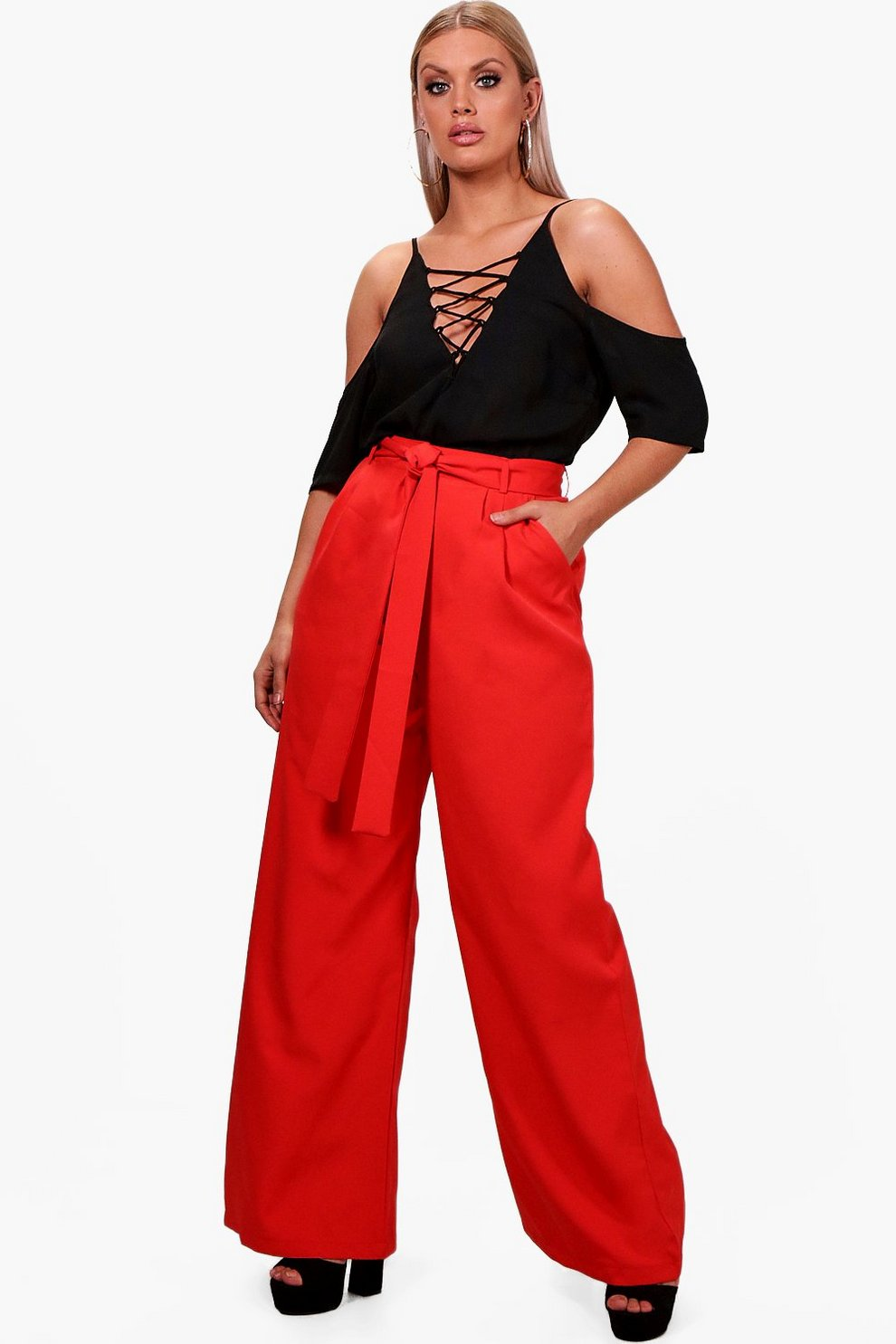 3f4f61be079a Plus Tie Waist Wide Leg Woven Trouser | Boohoo