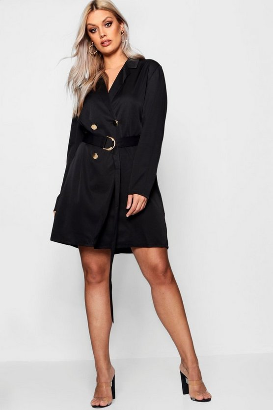 Plus Belted Woven Blazer Dress