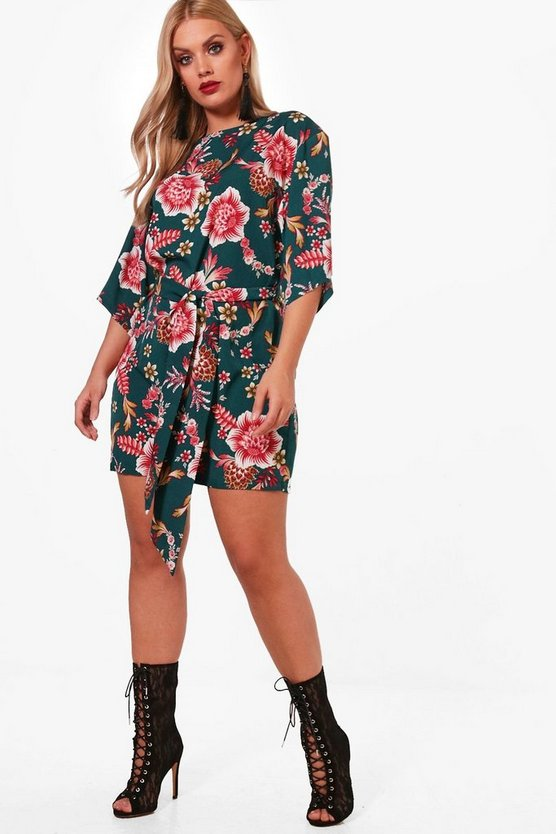 Plus Tie Waist Kimono Sleeve Shift Dress