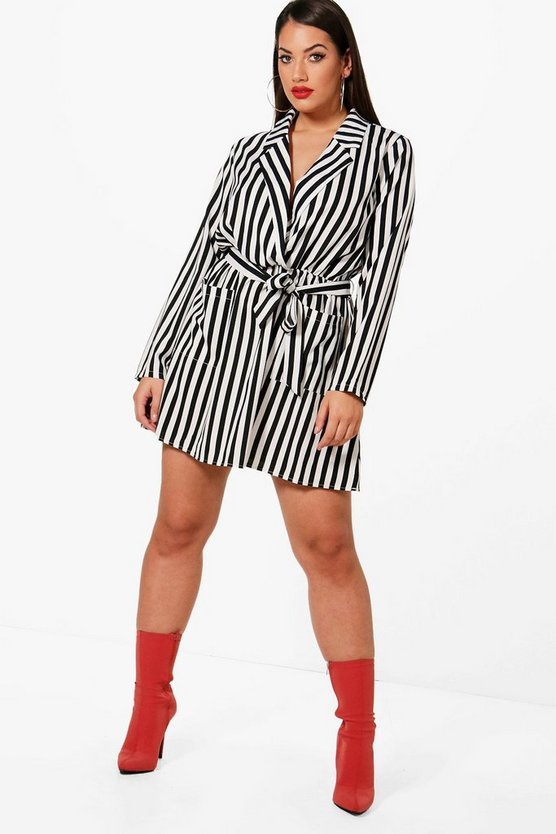 Plus Stripe Wrap Front Mini Shirt Dress