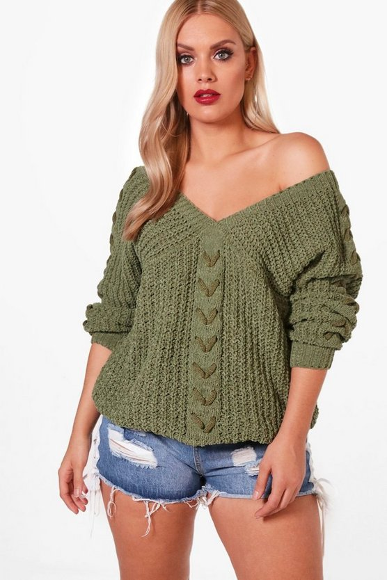Plus Lace Up Sleeve Cable Knit Jumper