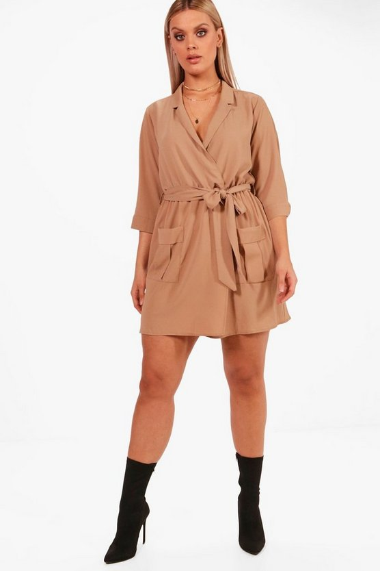Plus Tie Waist Woven Mini Shirt Dress