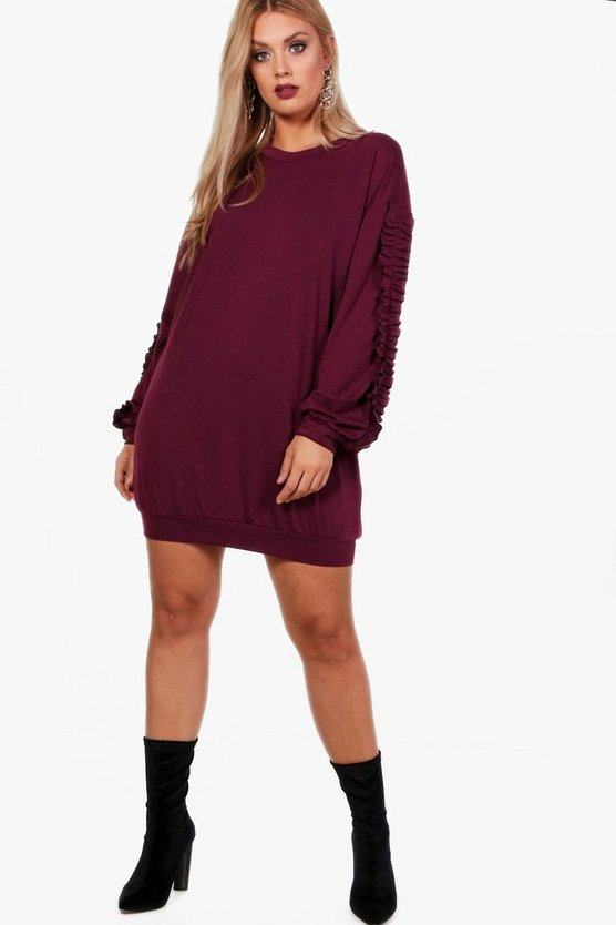 Plus Frill Sleeve Sweater Dress