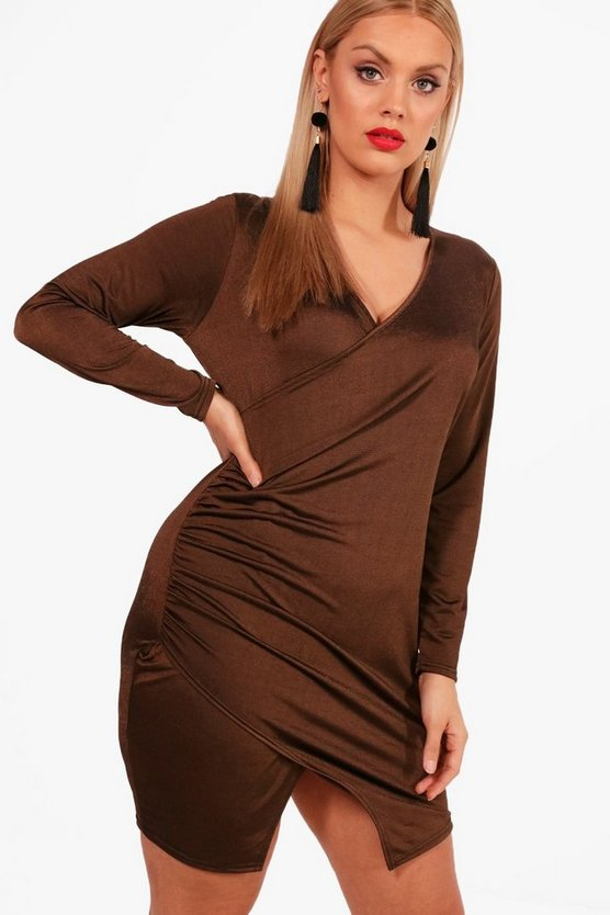 Womens Copper Plus Plunge Wrap Split Front Dress