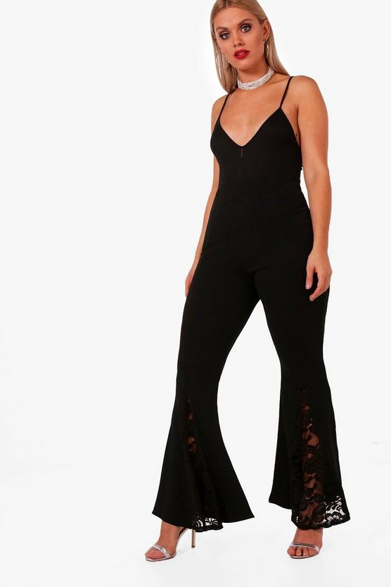 Plus Lace Trim Flare Trouser