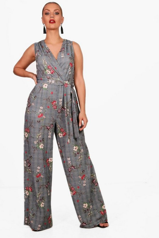 Plus Tilly Floral Checked Wrap Jumpsuit