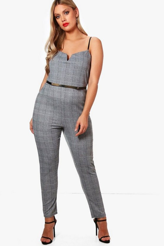 Plus Hattie Check Plunge Jumpsuit
