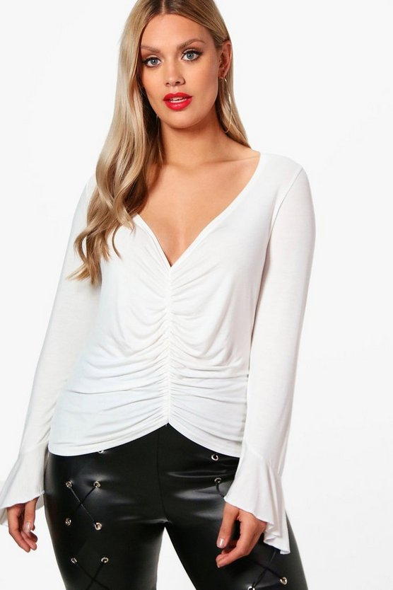 Plus Ruched Frill Detail Top