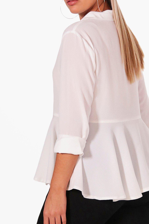 Peplum bajo con Plus Blusa Blanco ARUwx
