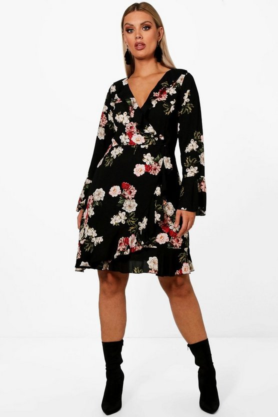 Plus Ruffle Detail Floral Tea Dress