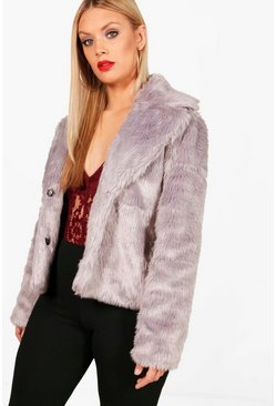 Womens Grey Plus  Faux Fur Coat