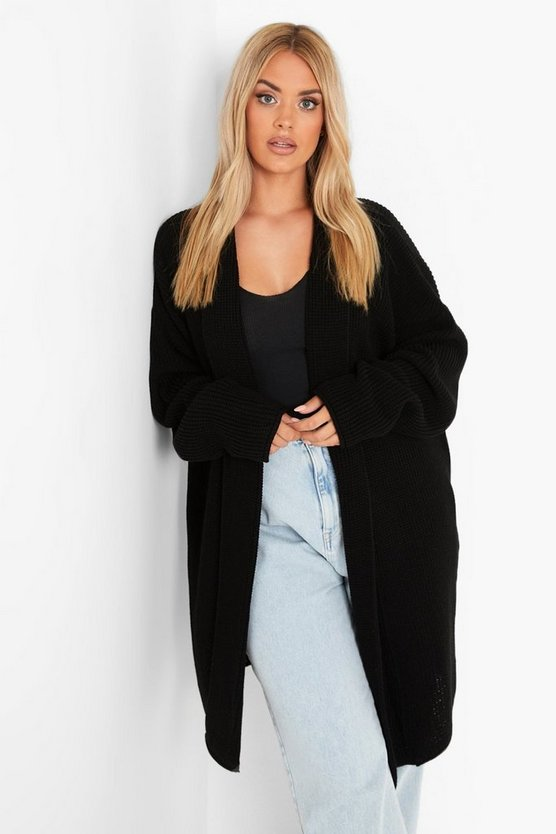 Womens Black Plus  Oversized Chunky Cardigan