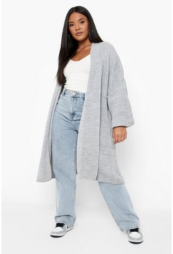 Womens Grey Plus  Oversized Chunky Cardigan