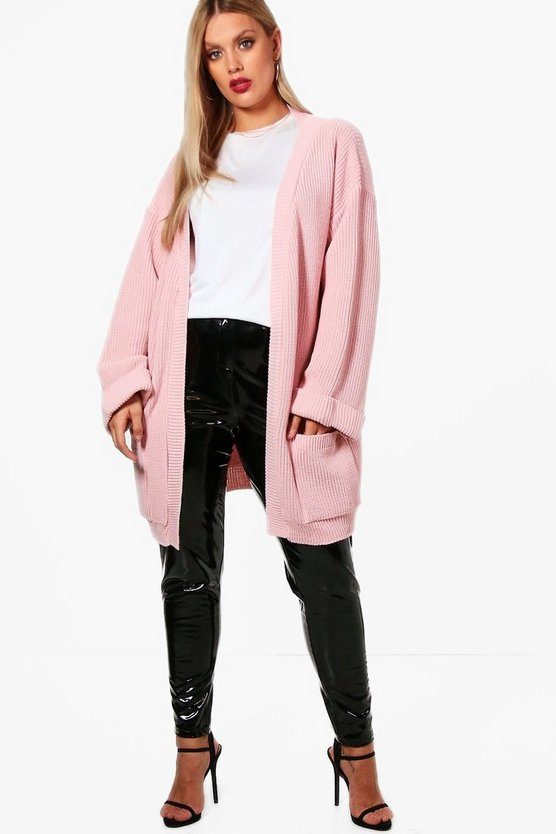 Womens Blush Plus  Chunky Oversized Cardigan