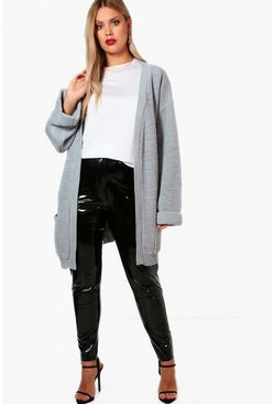Womens Grey Plus  Chunky Oversized Cardigan