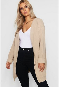 Womens Stone Plus  Chunky Oversized Cardigan