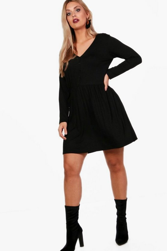 Womens Black Plus V Neck Button Front Smock Dress