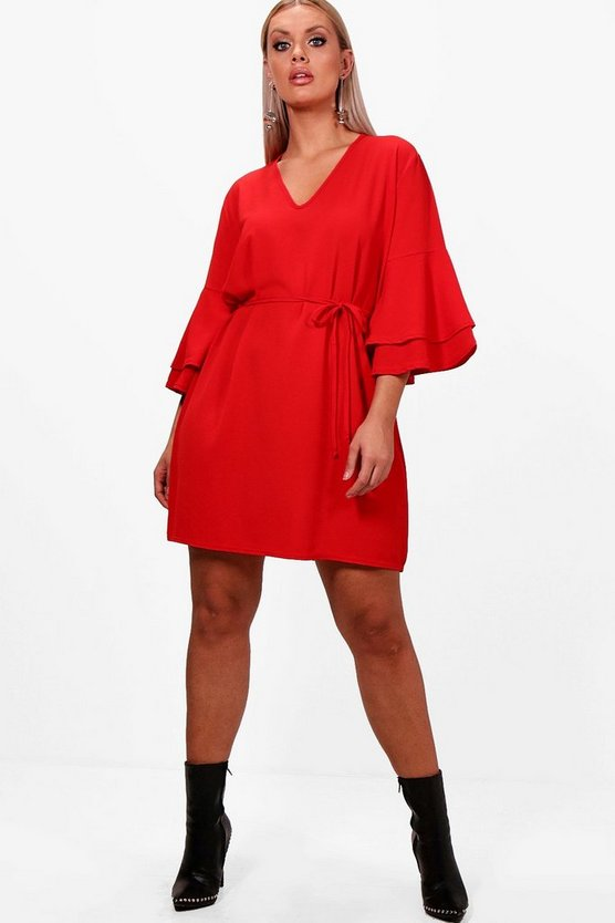 Plus Flute Sleeve Tie Waist Dress
