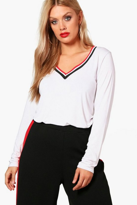 Plus Lena Long Sleeve Rib Trim V Neck Tee