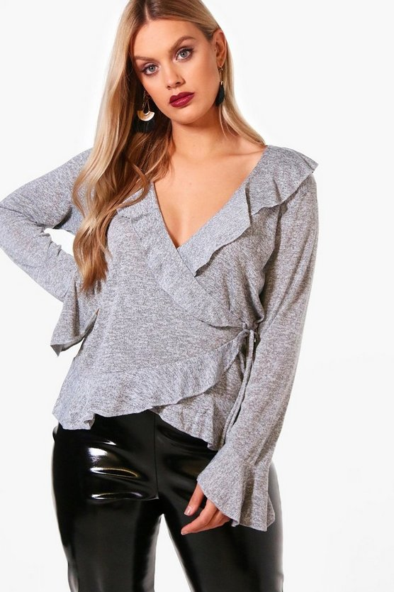 Plus Knitted Ruffle Wrap Top