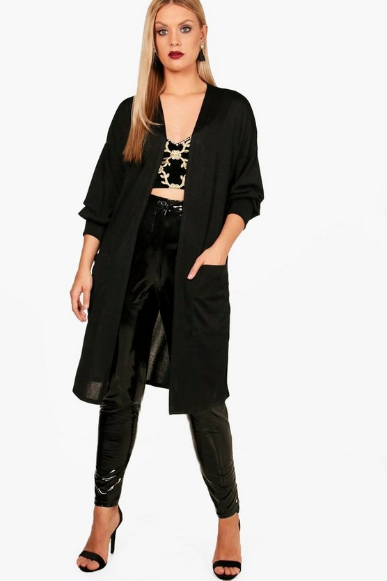 Black Plus Niamh Frill Sleeve Cardigan