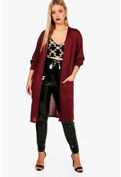 Womens Wine Plus Niamh Frill Sleeve Cardigan