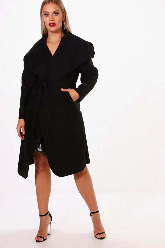 Black Plus Wool Look Wrap Coat