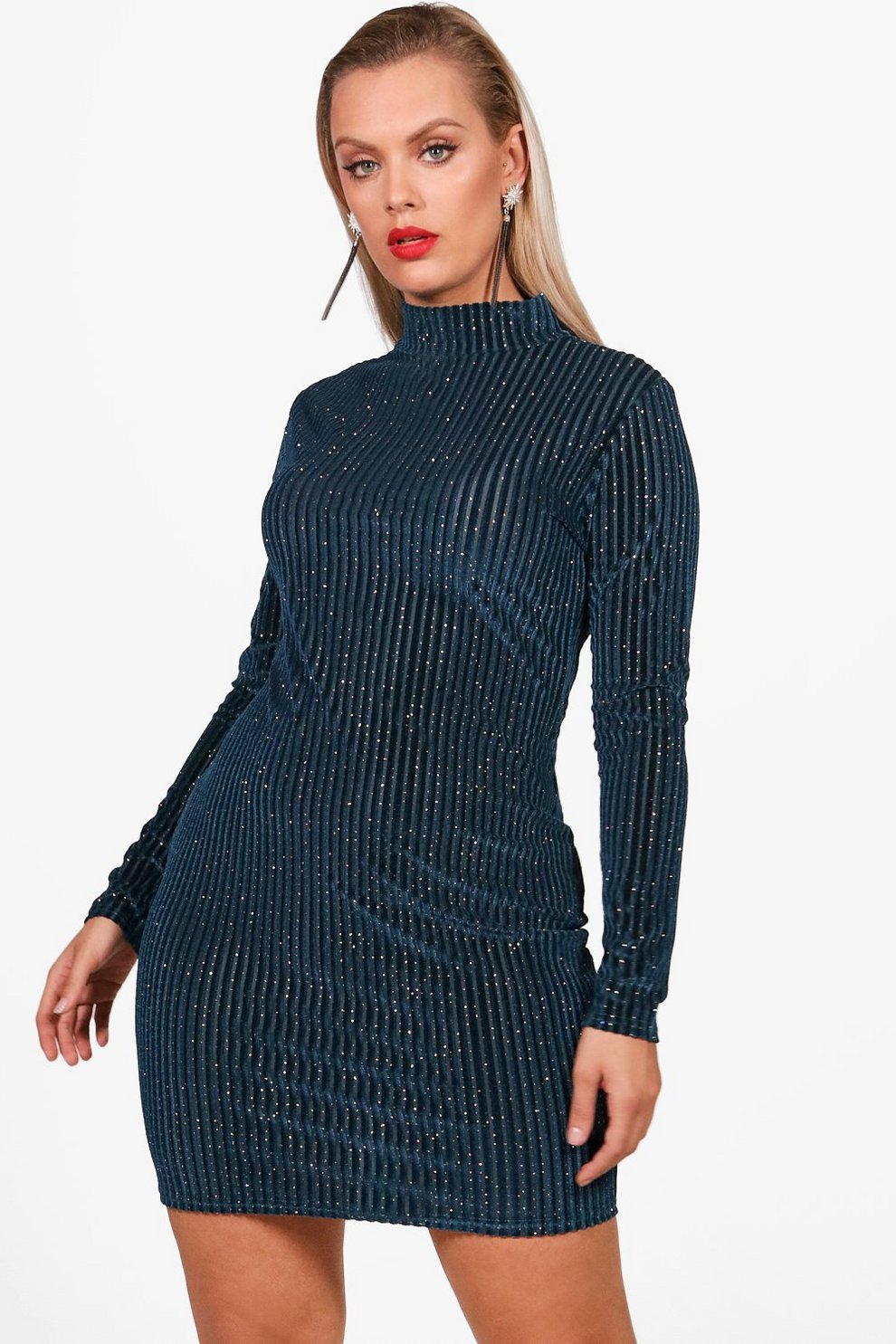 b6a48be3baf4 Plus Harper Glitter Velvet Long Sleeve Bodycon | Boohoo