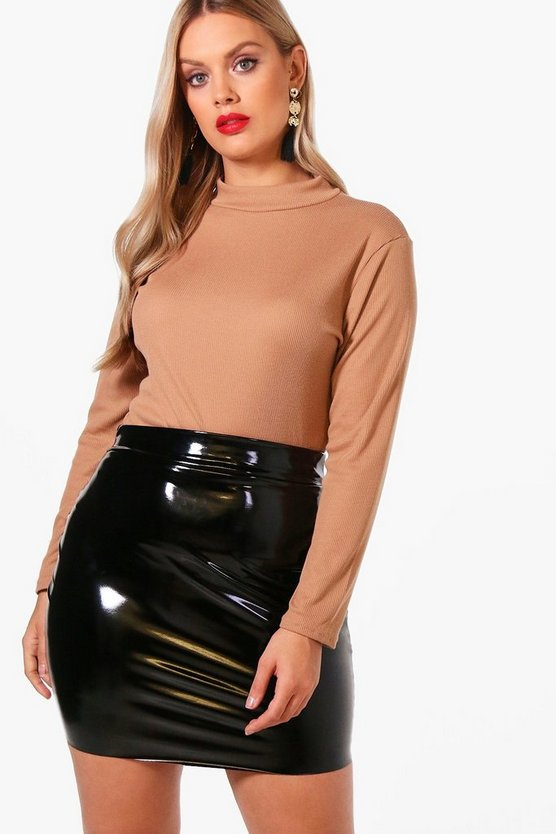 Plus Ribbed High Neck Top