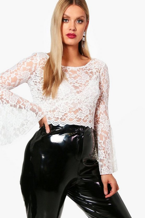Plus Caitlyn Bell Sleeve Crop Lace Top