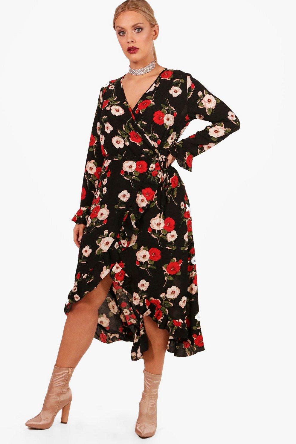 08ed7263d88e Plus Riley Floral Ruffle Wrap Tea Dress   Boohoo